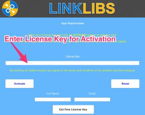 Linklibs - Enter License Key for Activation