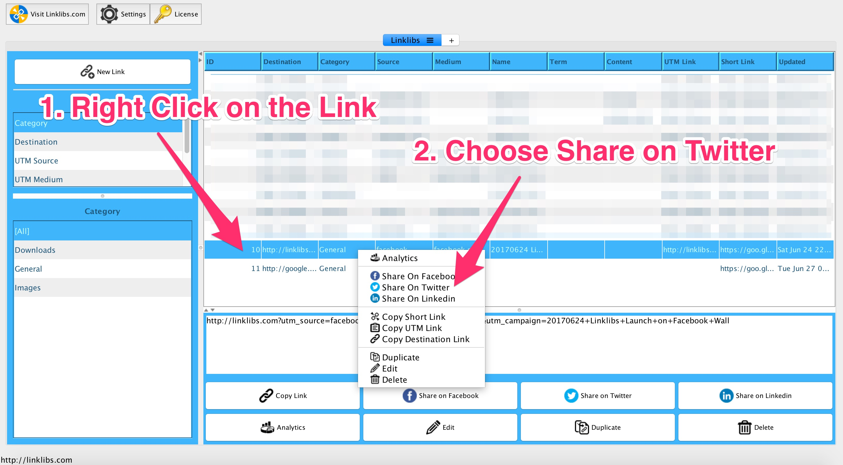 how to delete shared twitter links